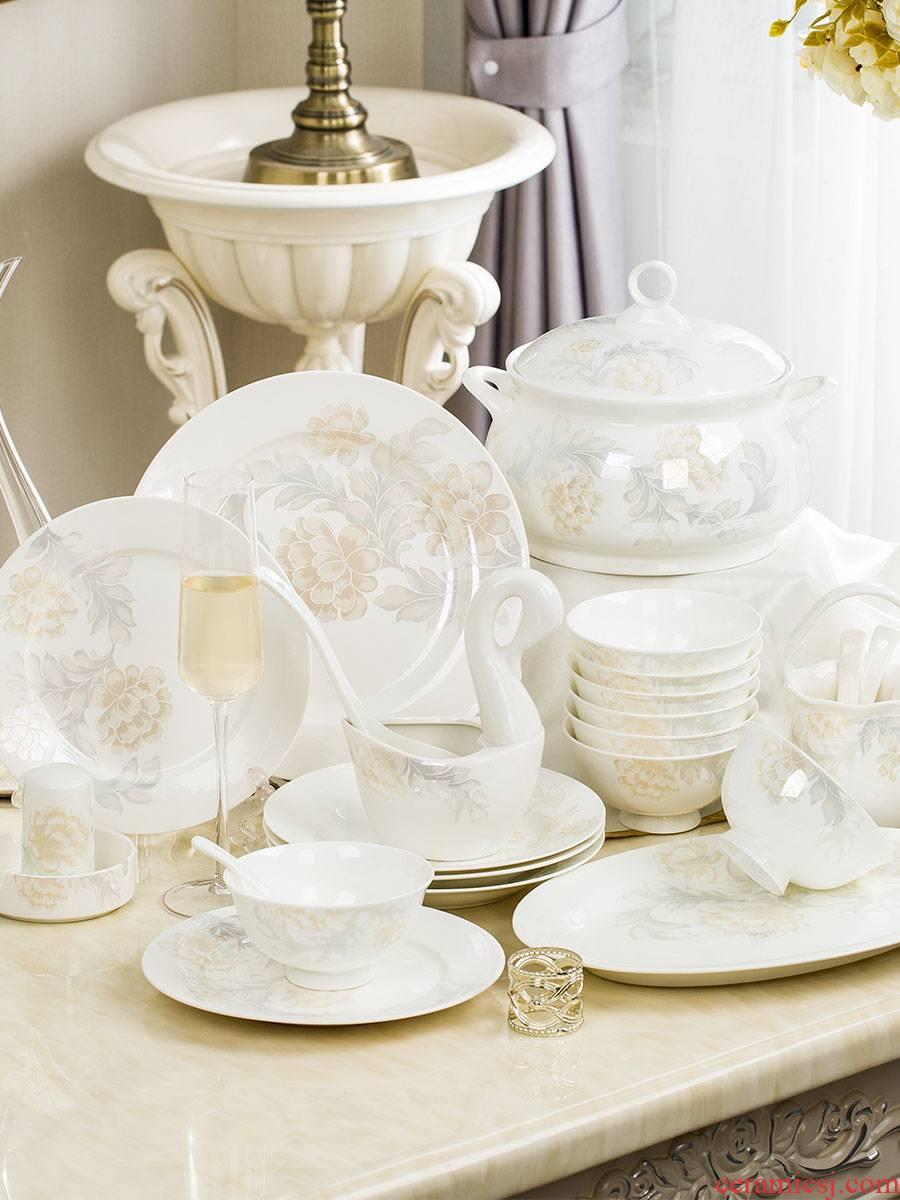 28/56 skull porcelain tableware Korean dishes suit of jingdezhen ceramics creative home dishes cutlery set