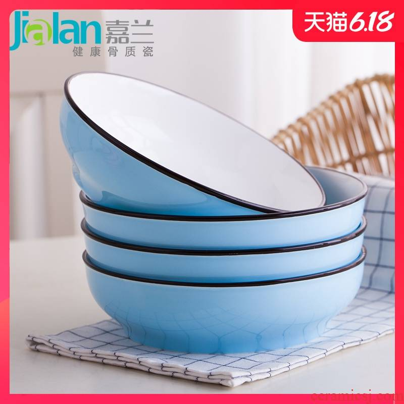 Garland ceramic dishes household FanPan can happens capacity shing soup plate deep dish Japanese contracted four pure color plate