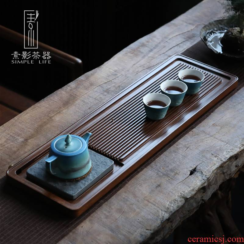 Shadow weight bamboo sharply stone tea tray was whole tablet household contracted drainage Japanese dry plate of solid wood, small tea table