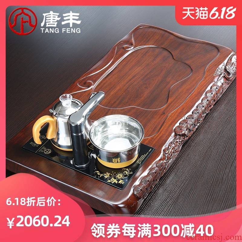 Tang Feng upset the whole board half manual edge carving large ebony wood tea table ground automatic water heating furnace z