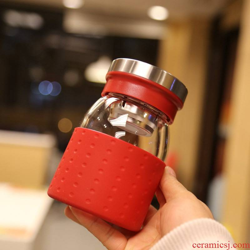 Contracted portable business glass glass bottles with filter to hold to tropical cover cups with a cup of high - grade office