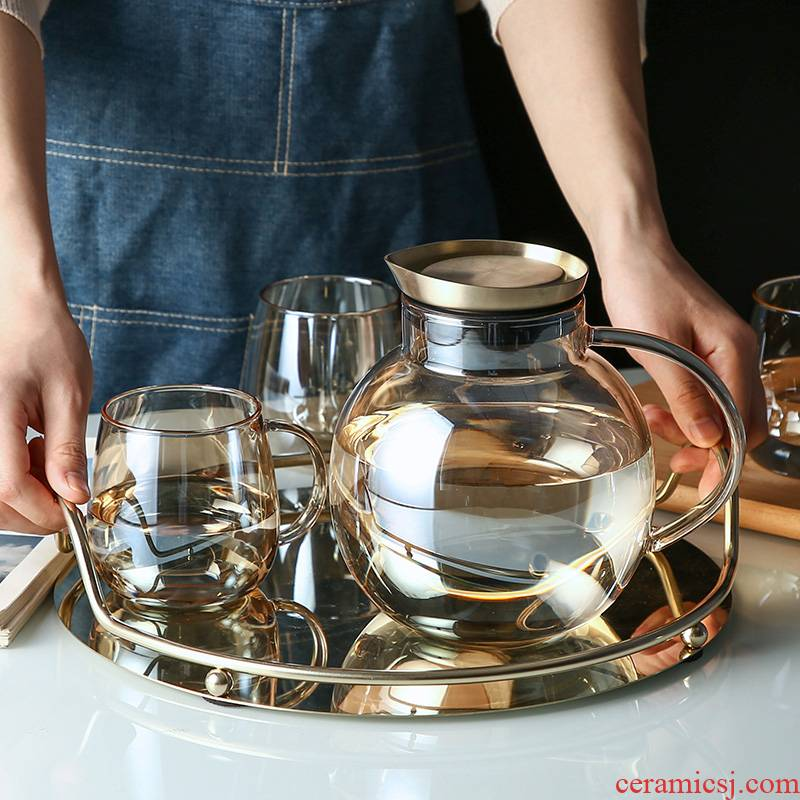 With glass tray With home sitting room key-2 luxury Nordic creative suit glass cup With a cup of water suit as light as the Philippines