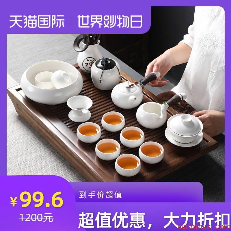 White porcelain tea set ceramic kung fu tea tea tray of a complete set of tea tureen teapot teacup household contracted