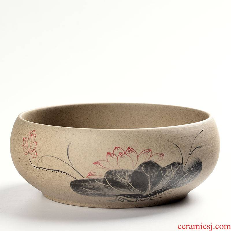 Fleshy flower pot large diameter circular platter creative ceramics nonporous hydroponic copper money plant grass daffodils coarse pot