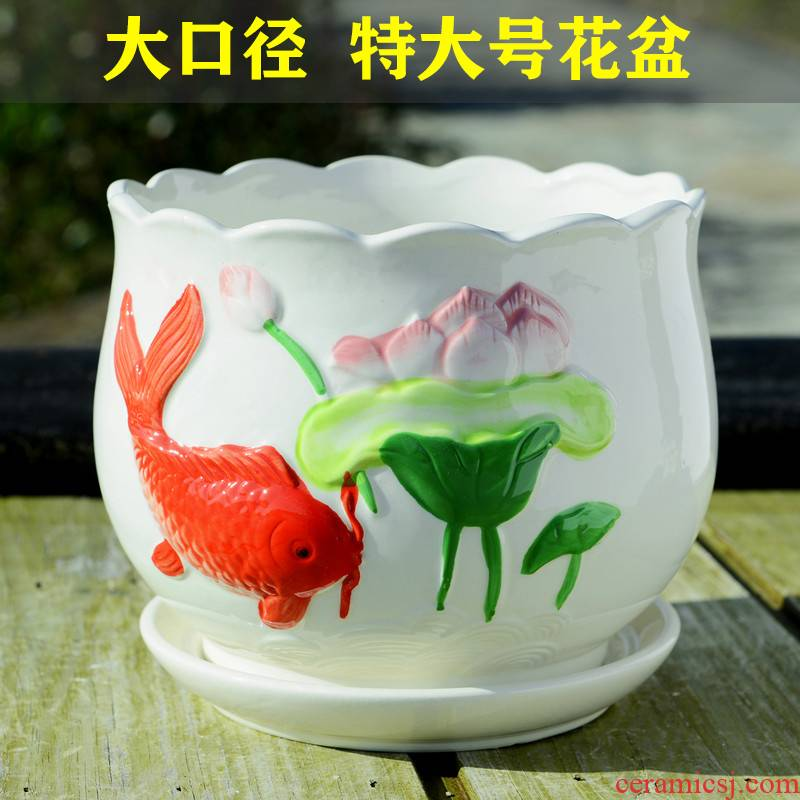 Ceramic POTS extra large household fleshy interior contracted a clearance sale wholesale money plant bracketplant sitting room with the tray