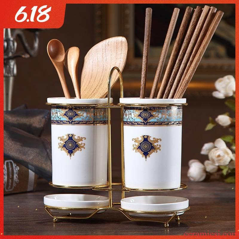 European ceramic chopsticks dobbin creative mouldproof household is worn pairs of chopsticks chopsticks box son drop tube rack in the kitchen