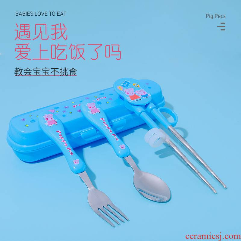 The Children 's home child training chopsticks spoons forks suit baby learning practice consisting of stainless steel tableware chopsticks