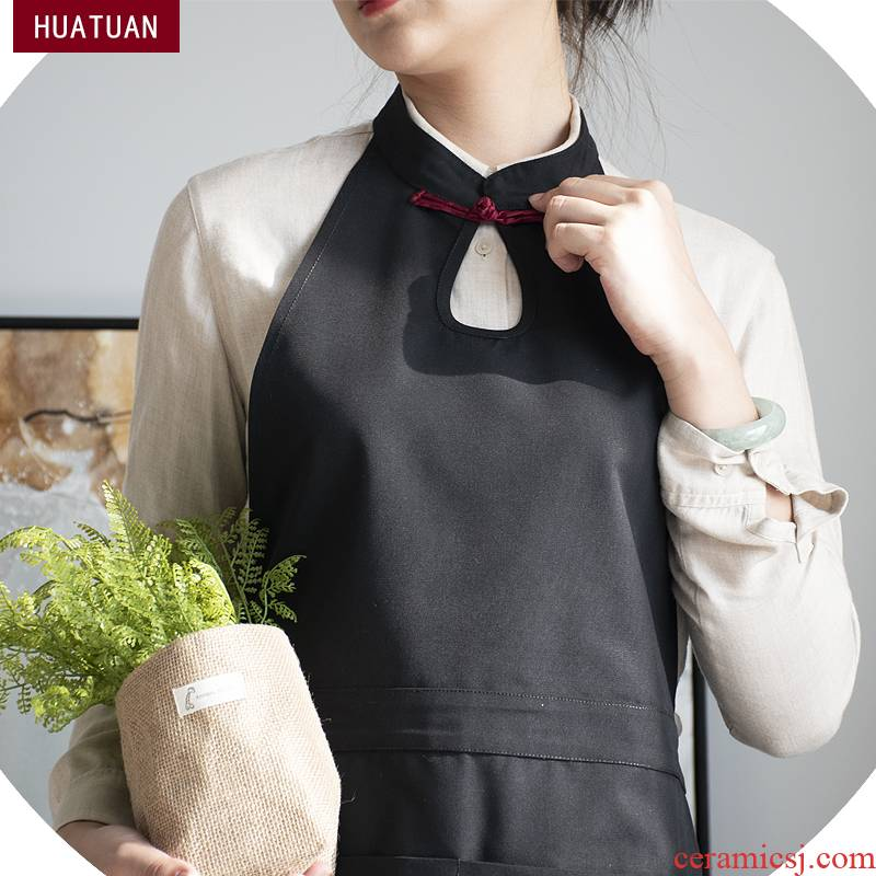 Apron waite wind Chinese restaurant kitchen waterproof canvas overalls female fashion male tea custom LOGO printing