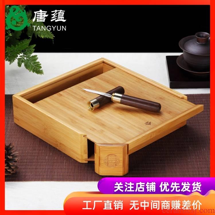 Pu - erh tea boxes tea cake tea storehouse tool shelf single drawer bamboo tea tray was kung fu tea accessories