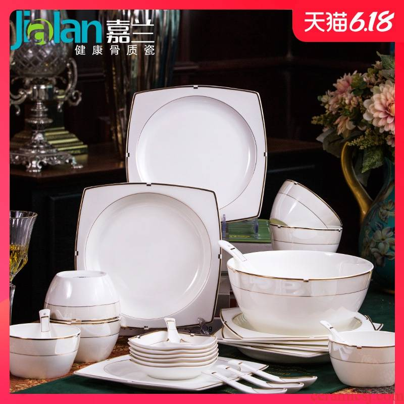 Garland ou bowl plates spoon, free collocation with European ipads porcelain tableware suit household ceramics large bowl of soup bowl