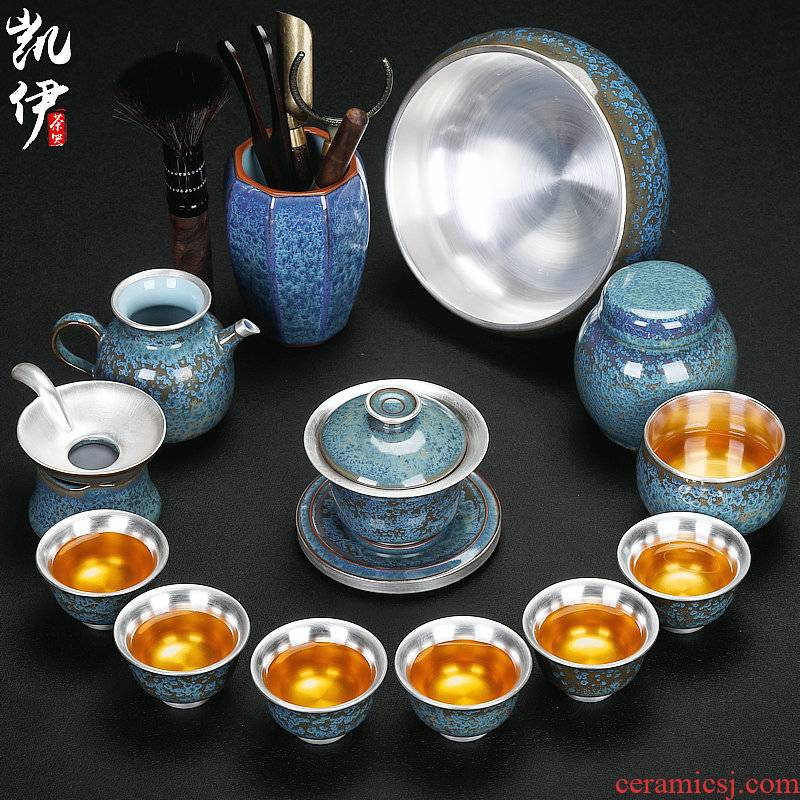 Taiwan floating cui aquamarine coppering. As silver kung fu tea set household teapot sample tea cup coppering. As silver cup three tureen