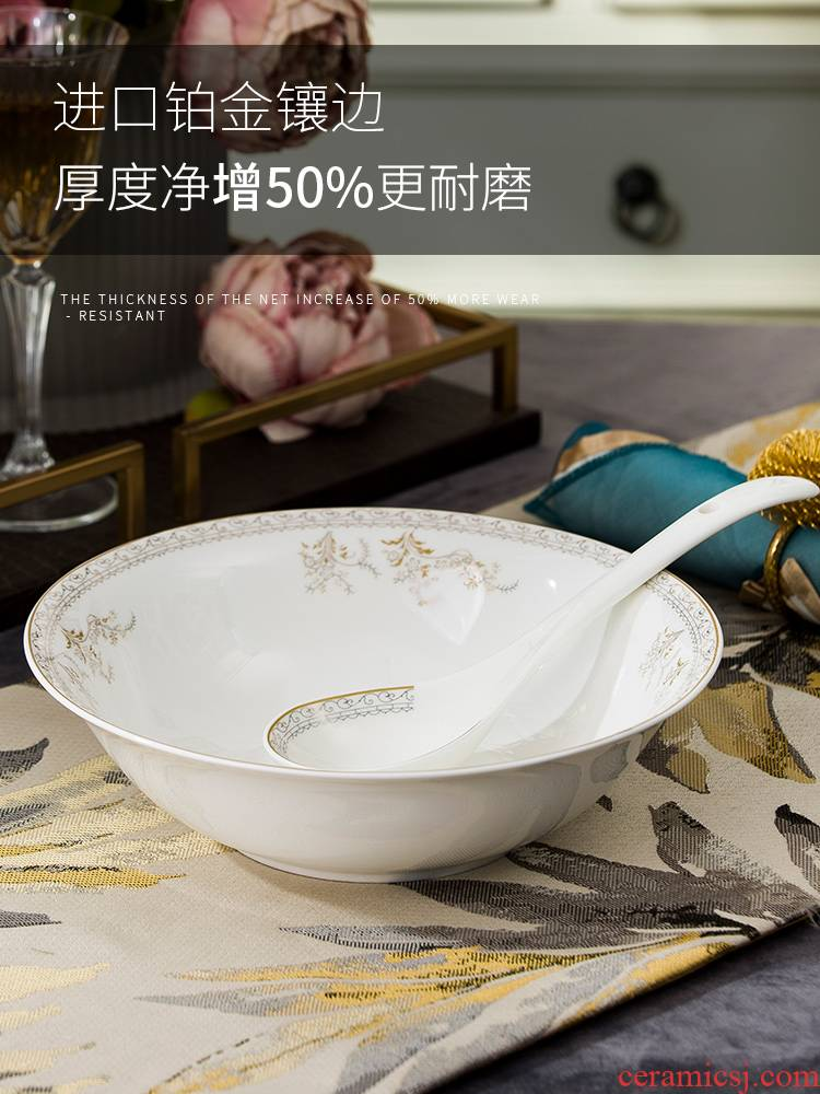 Jingdezhen ceramic soup pot of soup pot dishes set tableware circular creative large - sized domestic large bowl of soup bowl of the big spoon
