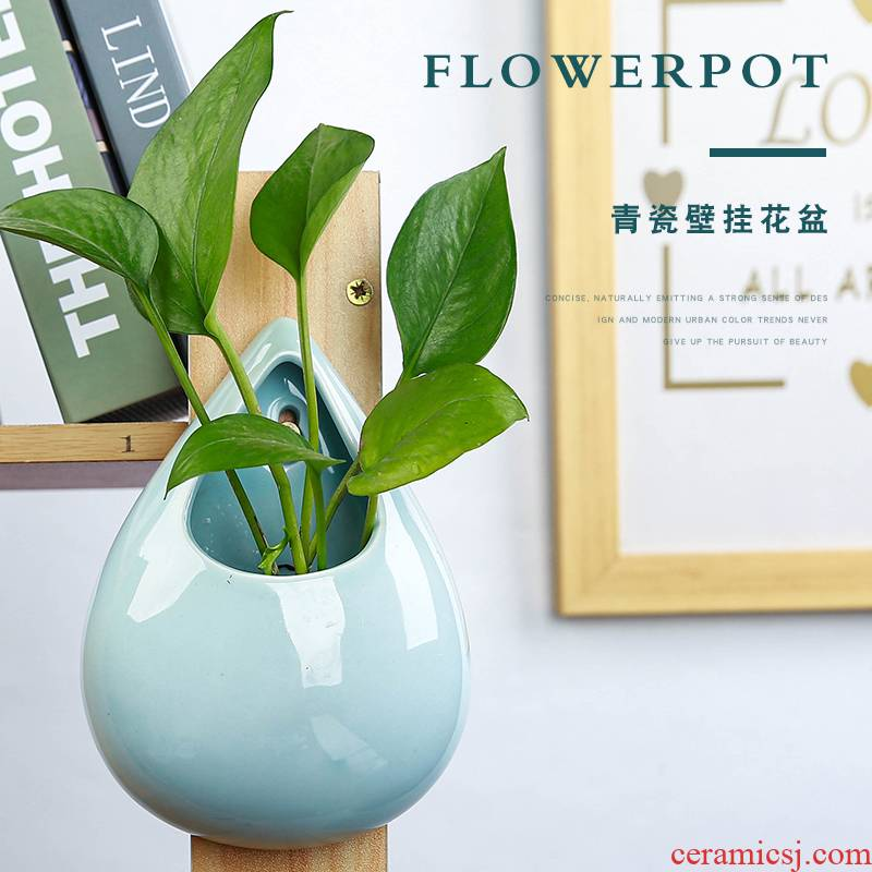 Hanging celadon ceramics flowerpots hydroponic money plant vase wall holing free creative Hanging basket Hanging decorative furnishing articles