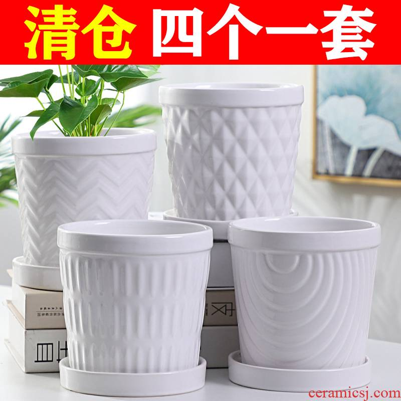 Flowerpot ceramic specials in large number contracted household money plant bracketplant heavy fleshy white butterfly orchid with tray