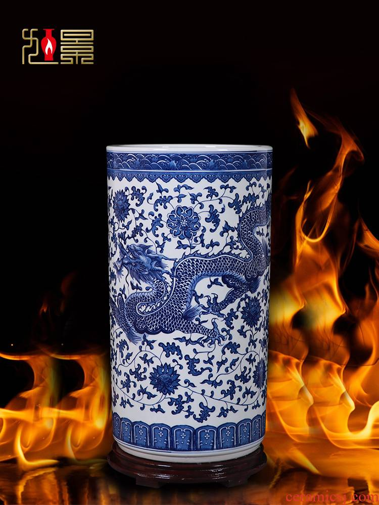 Jingdezhen ceramic vase hand - made of blue and white porcelain dragon quiver scroll painting and calligraphy cylinder large furnishing articles sitting room ground