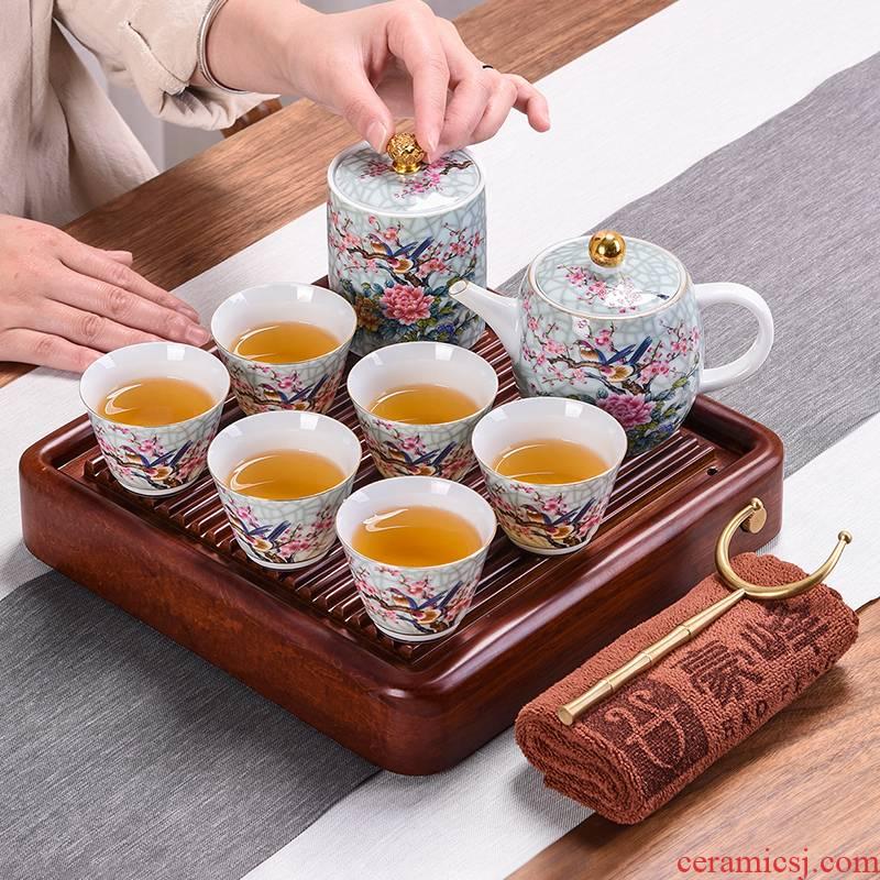 Japanese heavy bamboo tea tray up tea set teapot teacup small household contracted kung fu tea saucer