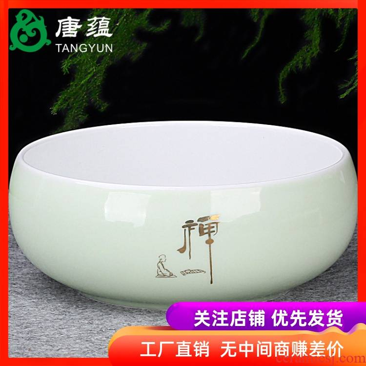 The Heavy tea to wash large writing brush washer water jar washing bowl with ceramic kung fu tea set with parts tea taking with zero household tea tray