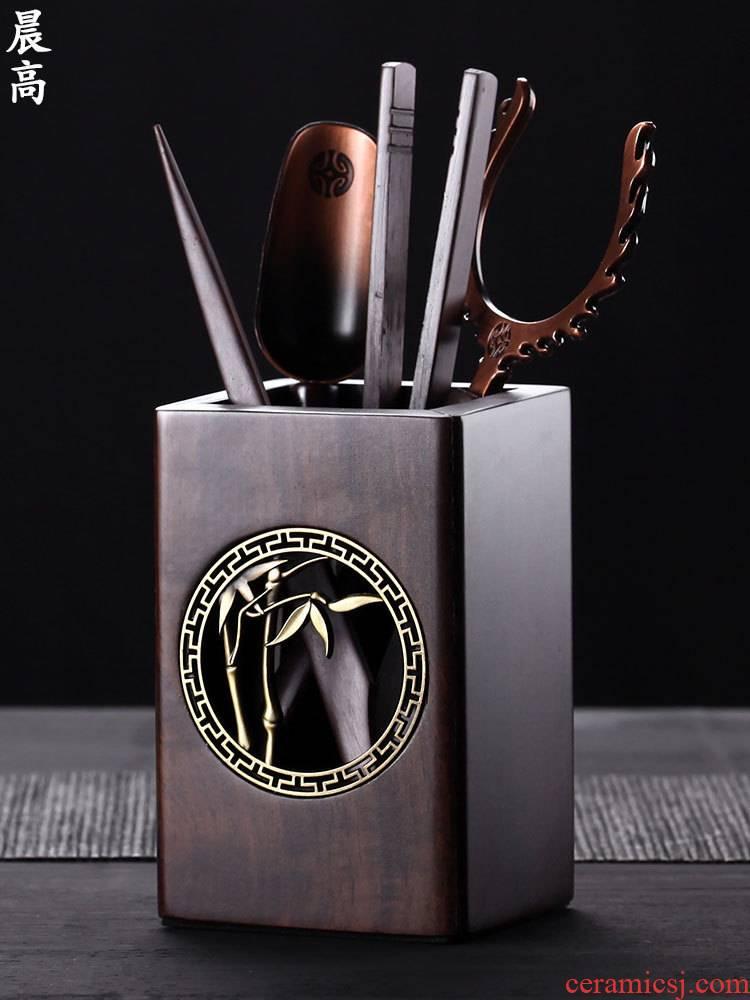 Morning high kung fu tea tea sets accessories tea six gentleman 's real wood clamp fork spoon cup tea tweezers to zero