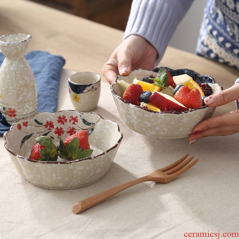 Japanese style restoring ancient ways snowflakes glaze ceramic tableware roasted bowl large household single baked bread and butter of fruits and vegetables salad bowl
