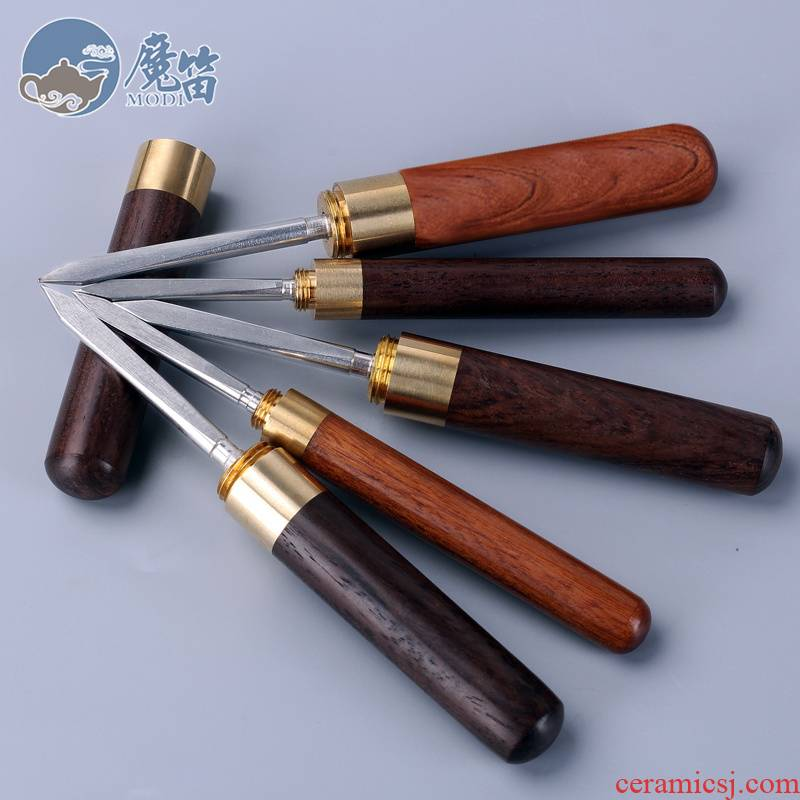 The flute tea knife pure manual ChaZhen ebony wood pattern Damascus steel knife tea tea accessories with zero