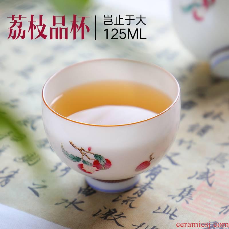 The Escape this hall manual jingdezhen kung fu tea cups ceramic sample tea cup large master cup single pastel kung fu tea set