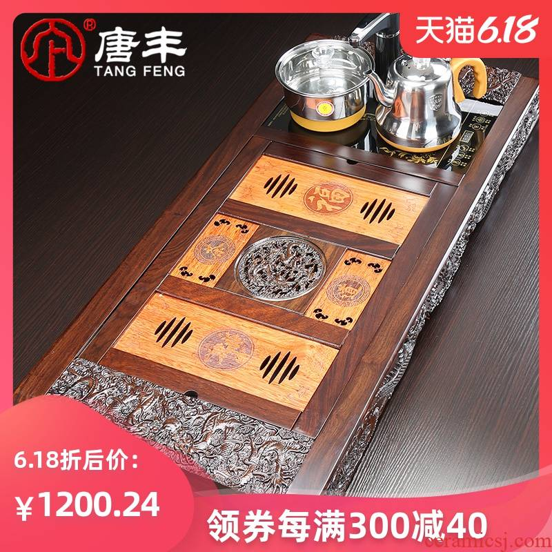 Tang Feng ebony wood tea tray tea sea contracted Chinese kung fu tea set four unity of electric heating furnace z restoring ancient ways