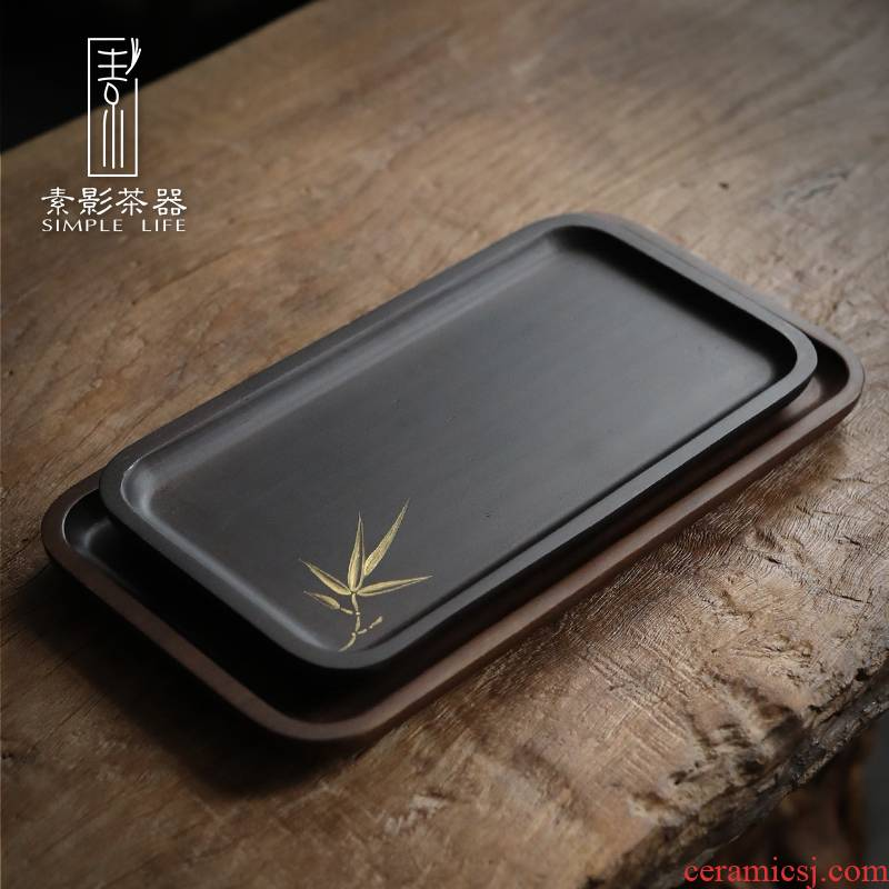 Shadow bamboo weight bamboo tray rectangle household contracted Japanese hand - made tea tray surroundings while fruit bowl wood tray