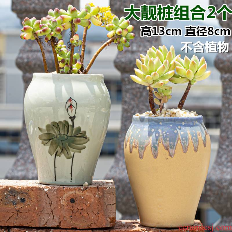 Meaty little old ceramic clearance specials of large diameter running the flowerpot coarse pottery flowerpot pack mail air suction meat meat the plants