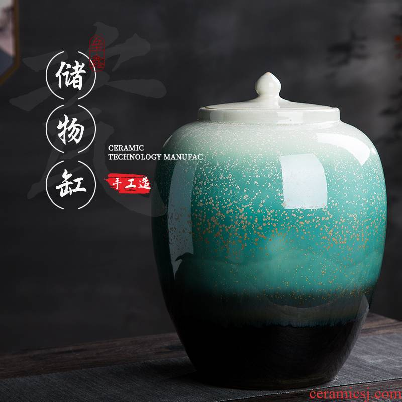 Barrel of jingdezhen ceramic household with cover storage caddy fixings meter box sealing insect - resistant ricer box 20/30/50 kg