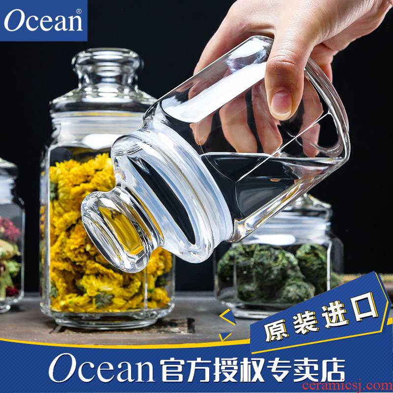 Ocean import small caddy fixings seal pot of tea tea set portable moistureproof box transparent glass storage tank