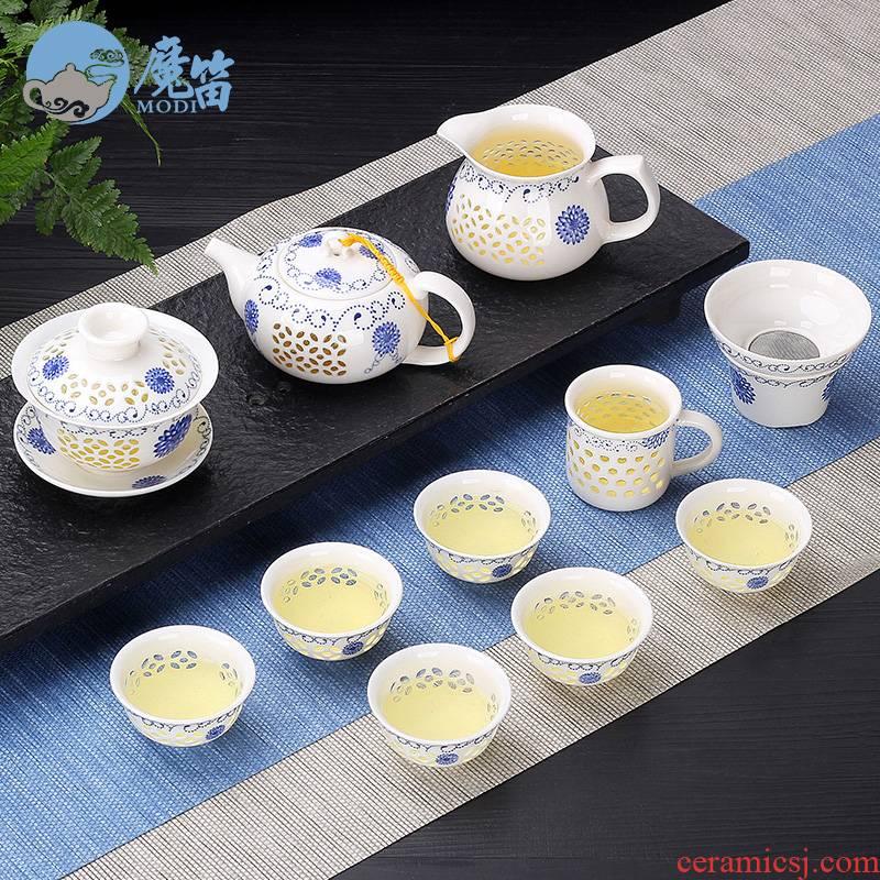 The flute and exquisite originality ceramic kung fu tea set home tea cup teapot jingdezhen contracted tureen tea art