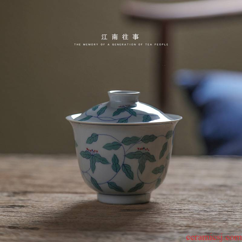 Jiangnan jingdezhen pure hand - made twinned trunks past small tureen Chinese style household ceramic cups kung fu tea bowl