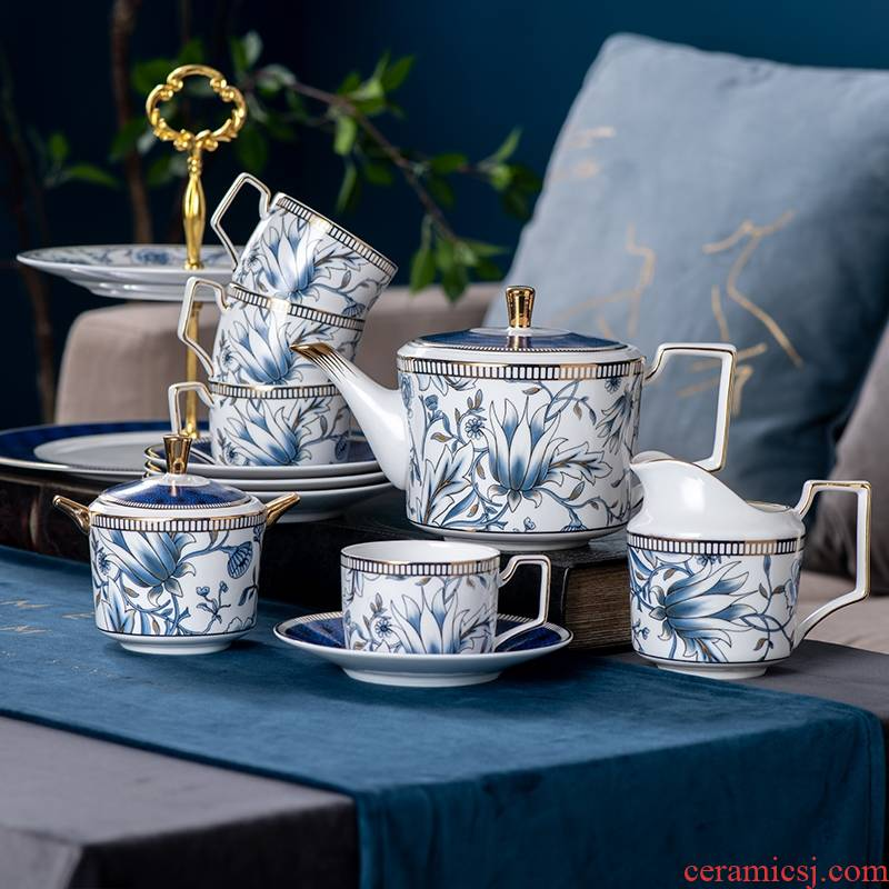 Hk xin rui English afternoon tea tea pot light key-2 luxury ceramic cups, small new key-2 luxury home coffee cup set