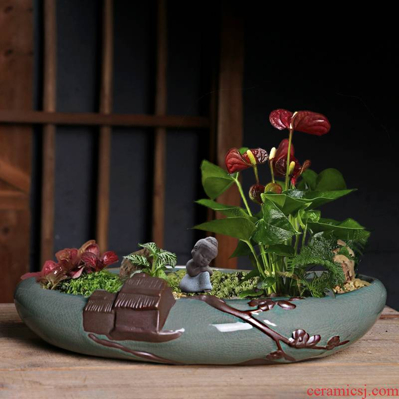 Elder brother up POTS ceramics China creative wind bonsai home rich tree green plant basin of potted plant large, fleshy