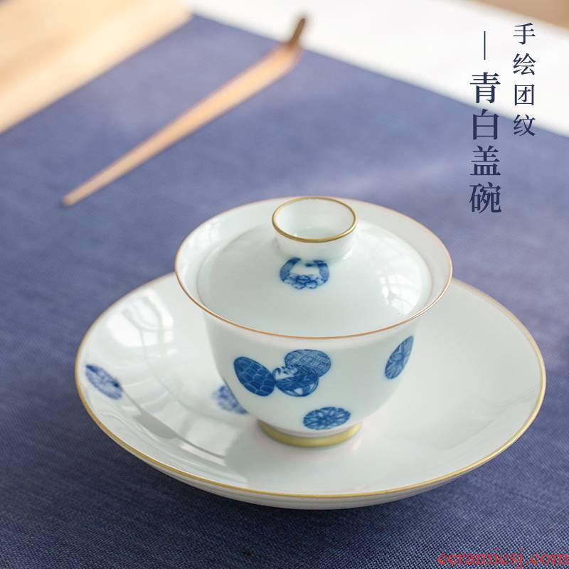 The Escape this hall jingdezhen blue and white porcelain manually tureen household ceramics three cups to tureen tea bowl set tea service