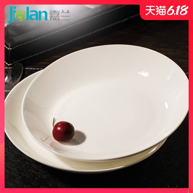 Garland ipads porcelain home plate flat soup plate FanPan square plate in pure white disc snack plate steak plate plate