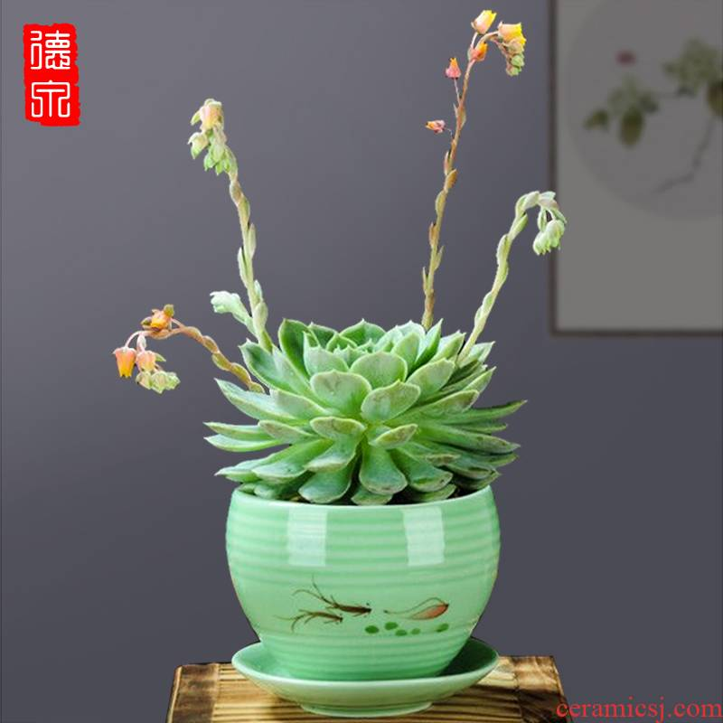 Special ceramics, fleshy celadon pot breathable flesh mage old running he ball cactus aloe flower implement
