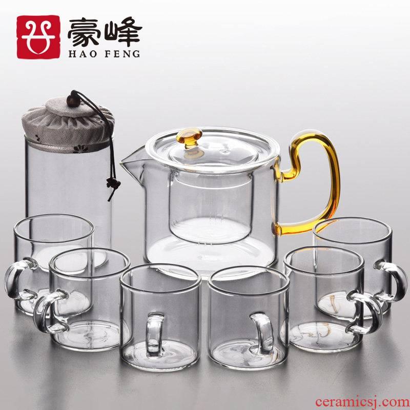 Glass tea set suit Japanese kung fu tea cups transparent household contracted and I high temperature resistant black tea tea teapot