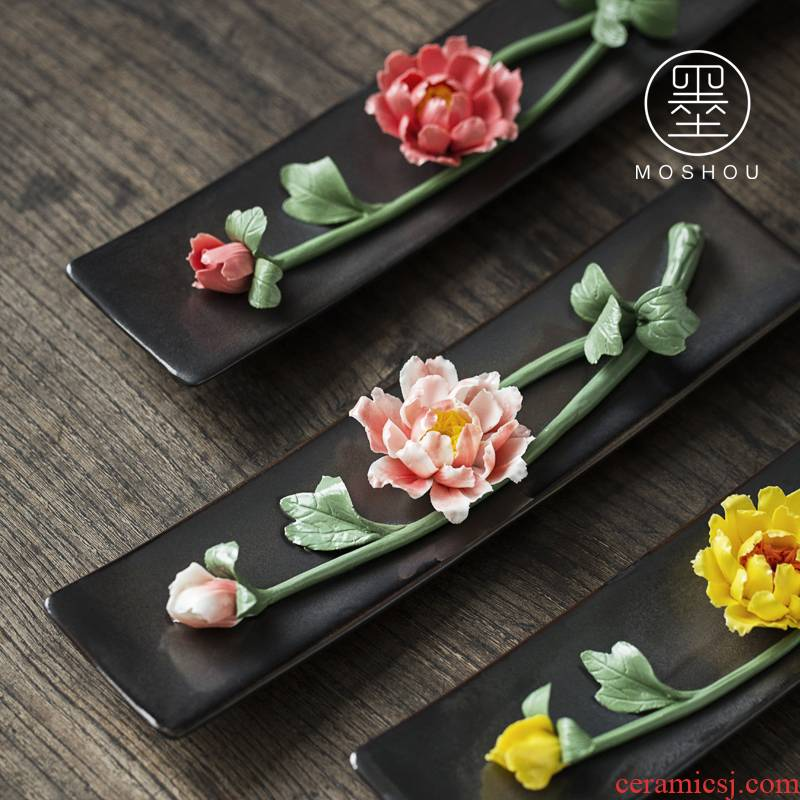 By hand for ceramic flower pen tea table decorations lotus flower peony refers to joss stick inserted tea pet furnishing articles