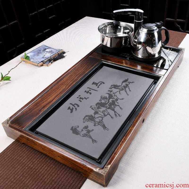 Ebony sea kung fu tea tray automatic integration of household solid wood sharply tea tea set stone tea kettle