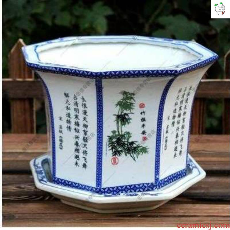 Ceramic flowerpot more meat oversized small number 5 dresses in blue and white porcelain anise sent tray with bottom