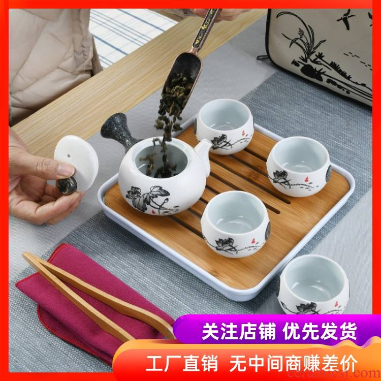 Kung fu tea set Japanese travel kit bags small set of household portable teapot teacup contracted Snow White porcelain