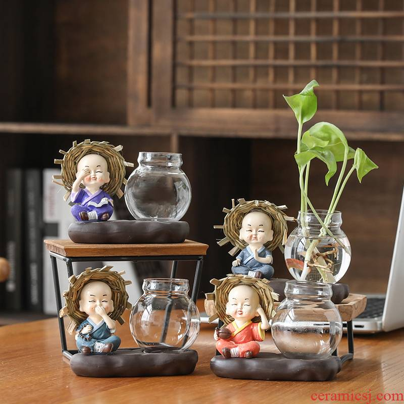 Creative furnishing articles monk sitting room glass flower implement other household act the role ofing is tasted tea flower vases, pottery and porcelain vessels hydroponics