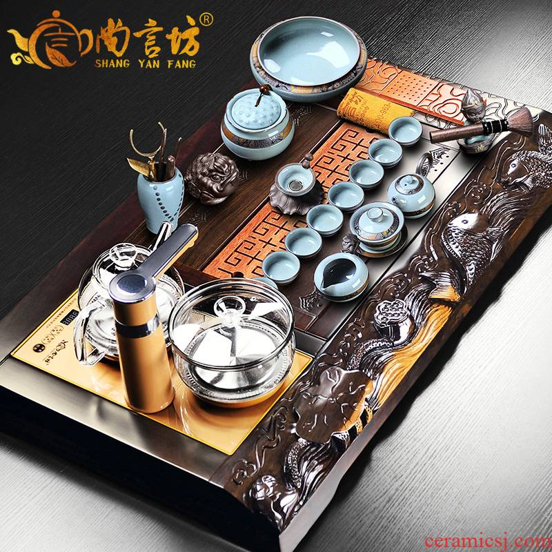 It still fang kung fu tea set suit household automatic contracted a visitor office a whole set of ebony wood tea tray