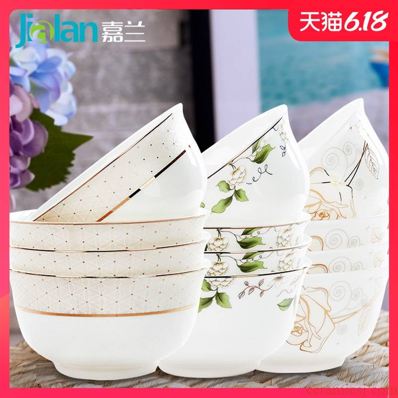 Garland ipads porcelain household jobs 10 install ceramic bowl set tableware to eat Chinese rice bowls microwave bowl