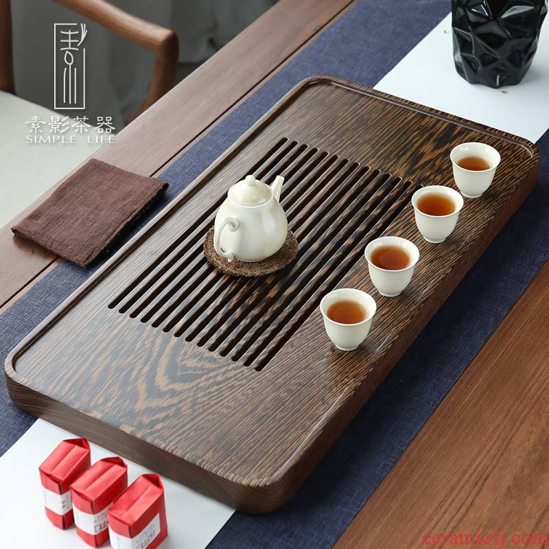 Plain film wing wood tea tray household contracted solid wood kung fu tea tea table drawer storage small tea saucer