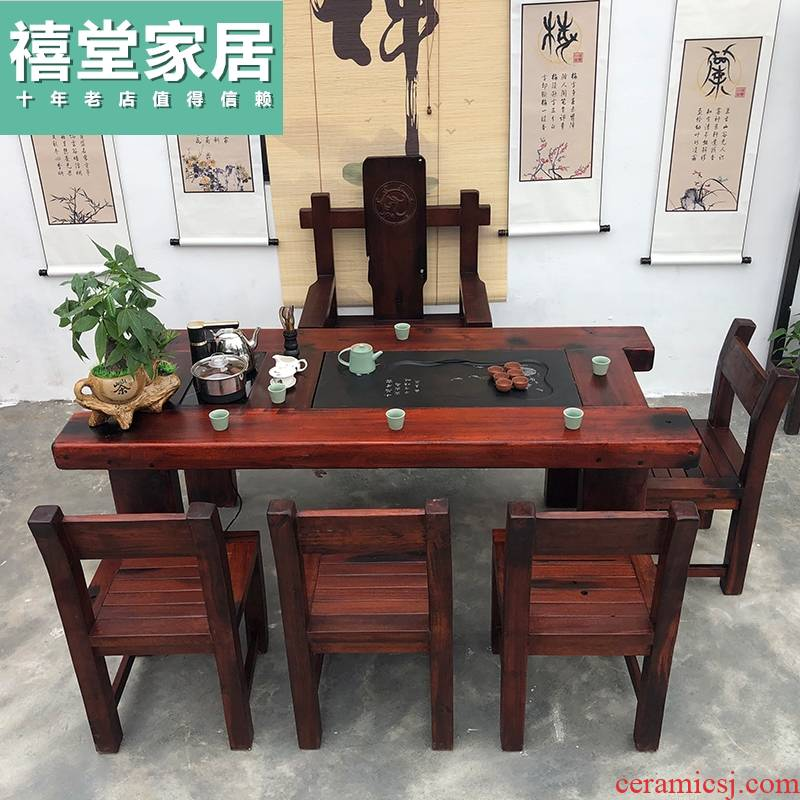 Tables and chairs combination of Chinese style tea sitting room solid wood tea kettle automatic office tea table, tea table