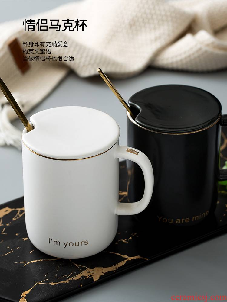 The Nordic glass ceramic keller with spoon office men and women lovers matte enrolled, black and white coffee cup glass cup