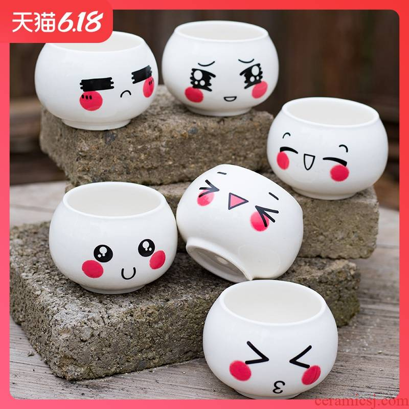 Creative move ceramic express cartoon of flowerpot primer mini combo kit expression more meat meat meat small potted the plants