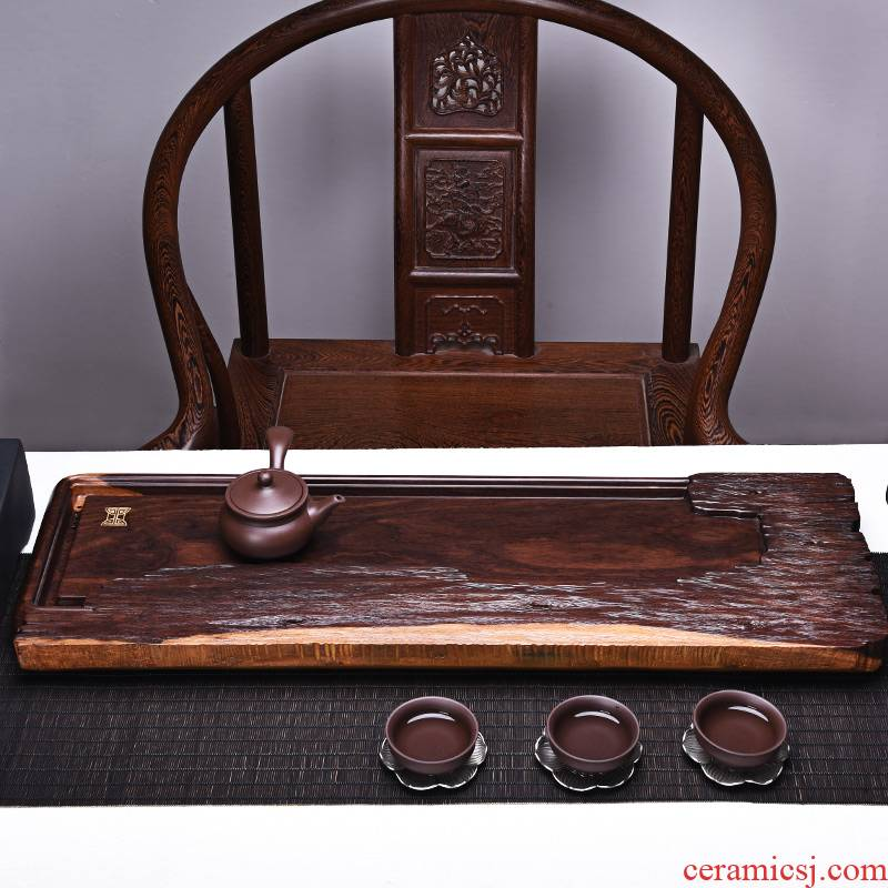 HaoFeng household ebony ground the whole piece of solid wood tea tray, black rosewood tea tea tray tray log restore ancient ways
